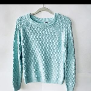 Old Navy cable knit sweater blue/mint color